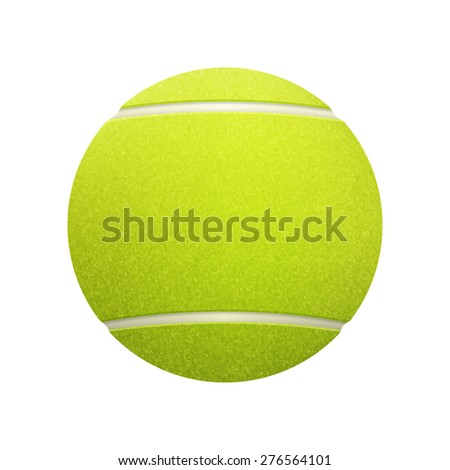 Single tennis ball isolated on white background. Vector EPS10 illustration.
