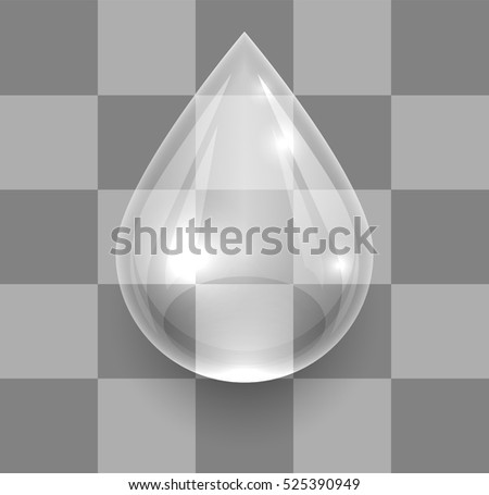 Single transparent water drop on checkered grey background vector template. Layered eps10 file.