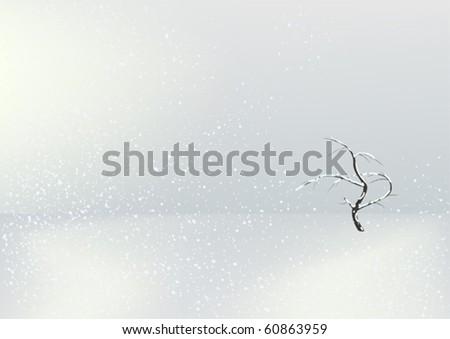 Single tree in the winter field - stock vector