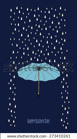 Single umbrella in the rain with the text block. Dark sky. Templates for design of cards, banners and flyers. Editable vector. - stock vector