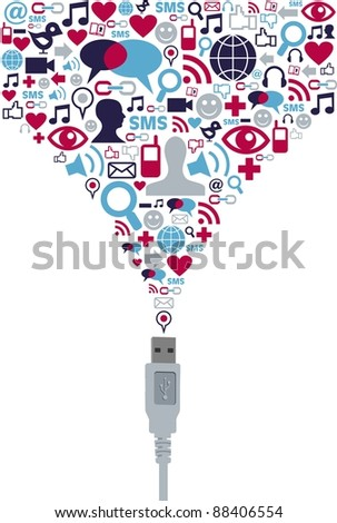 Single USB plug with social media icons set in splash shape on white  background. Vector file available. - stock vector
