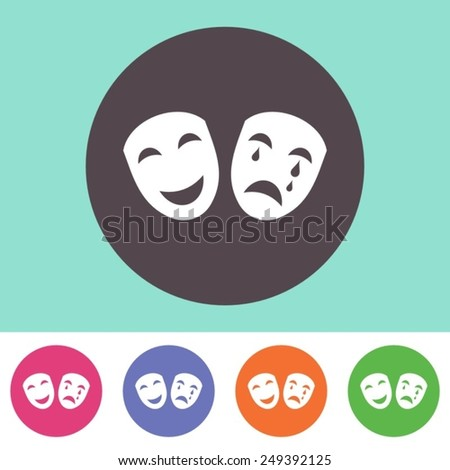 Single vector theatre icon on round colorful buttons - stock vector