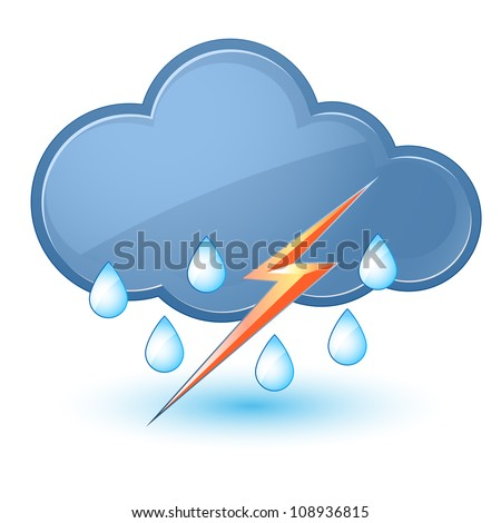 Single weather icon - Cloud with Rain and Lightning - stock vector
