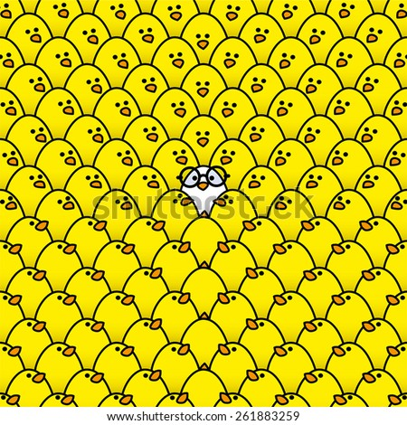 Single White Chick in Black Round Framed Glasses Surrounded by Repeating Yellow Chicks all staring in its direction - stock vector