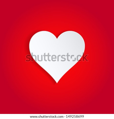 Single white paper heart on red background. - stock vector
