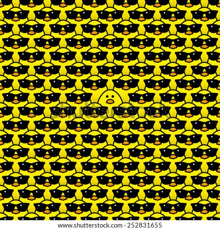 Single Yellow Chick surrounded by Many Identical Cool Chicks wearing Black Sunglasses Staring at camera - stock vector
