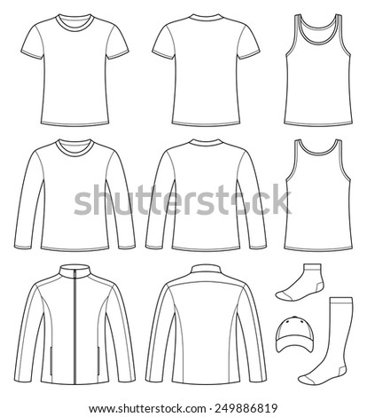 Singlet, T-shirt, Long-sleeved T-shirt, Jacket, Socks and Cap template - front and back isolated on white background - stock vector