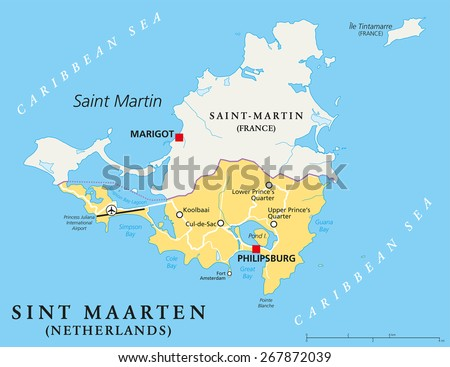 Sint Maarten Political Map. Southern part of the caribbean island Saint Martin. A constituent country of the Kingdom of the Netherlands with capital Philipsburg and important places. English labeling.