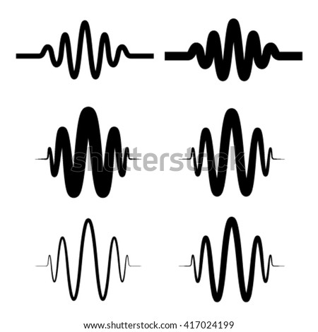 sinusoidal sound wave black symbol vector - stock vector