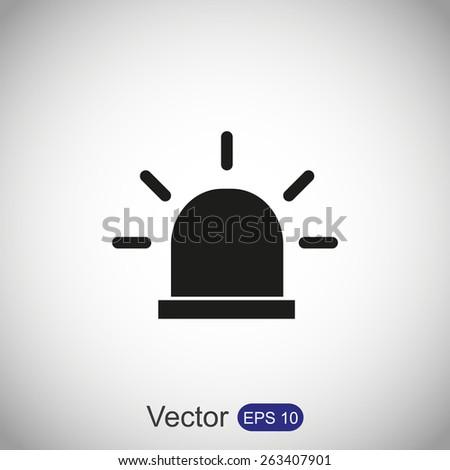 Siren icon, Police single - stock vector