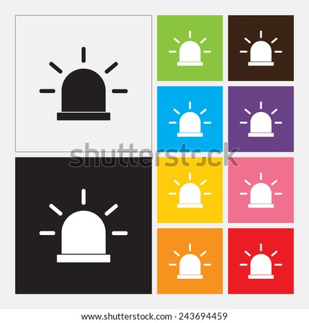 Siren icon, Police single flat icon - Vector - stock vector