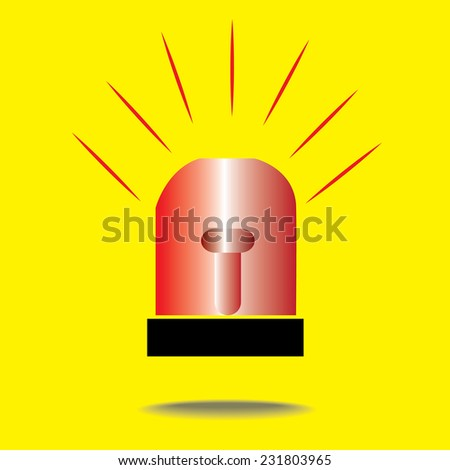 Siren Red Flashing Emergency Light - stock vector
