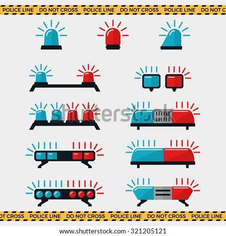 Siren set. Police flasher or ambulance flasher icons in flat style. Vector elements - stock vector