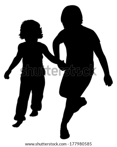 sisters walking silhouette vector