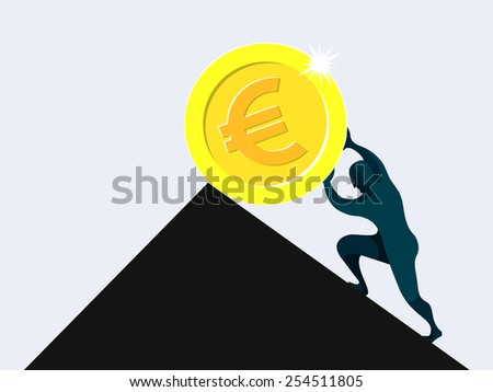 Sisyphus, man rolling and pushing dollar coin uphill on a slippery slope, pointless, vane, wasted effort - stock vector