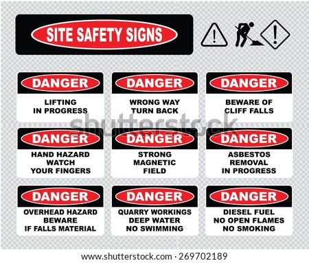 Site Safety Signs (lifting in progress, wrong way turn back, beware cliff falls, hand hazard, strong magnetic field, asbestos removal in progress, overhead hazard, quarry workings, diesel fuel). - stock vector