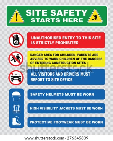site safety starts here or site safety sign (children must not play on this site, strictly no admittance to unauthorized personnel, safety ppe must be worn). - stock vector