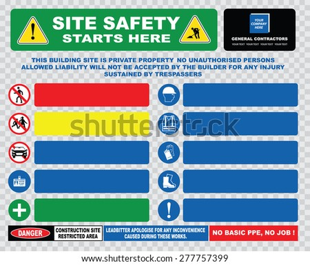 site safety starts here or site safety sign template (hard hats, safety goggles, visibility jackets, hand protection, protective footwear, injuries, restricted area, heavy plant) - stock vector