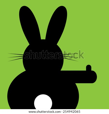 sitting and hitchhiking bunny on a green background - stock vector