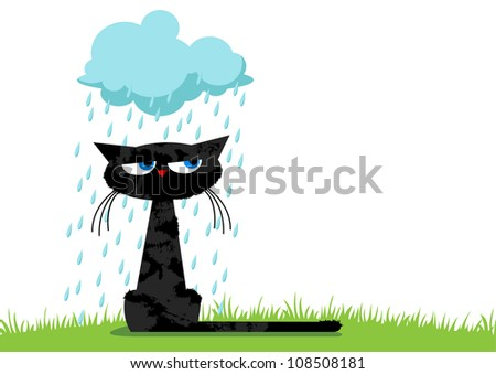 Sitting black unhappy funny cat and blue rainy cloud - stock vector