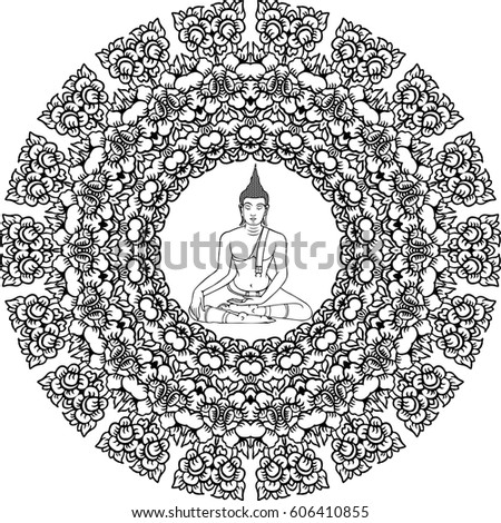 Sitting Buddha In Lotus Pose Mandala Ornament Coloring Book Floral Design