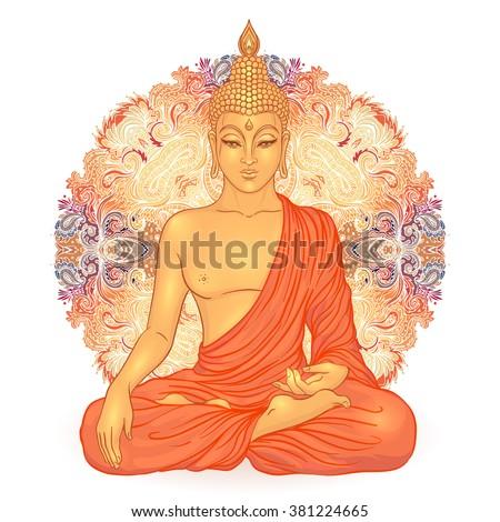 Sitting Buddha over ornate mandala round pattern. Amazing vector illustration. Vintage decorative composition. Indian, Buddhism, Spirituality  motifs. Hippie tattoo, yoga, zen.  - stock vector