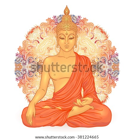 Sitting Buddha over ornate mandala round pattern. Spiritual vector illustration. Vintage decorative Buddha composition. Indian, Buddhism, Spirituality  motifs. Hippie tattoo, yoga, spirituality.  - stock vector