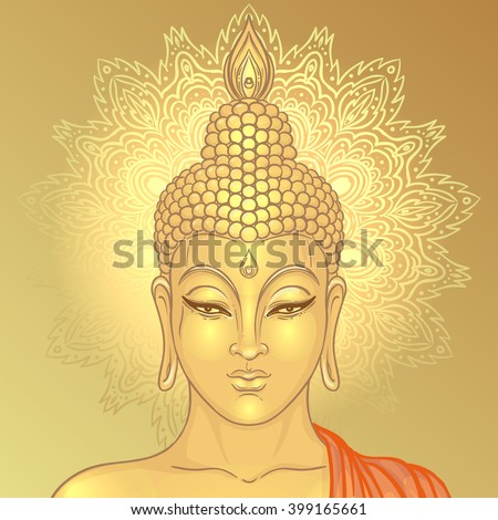 Sitting Buddha over ornate mandala round pattern. Vector illustration. Vintage decorative composition. Indian, Buddhism, Spiritual motifs. Tattoo, yoga, spirituality.