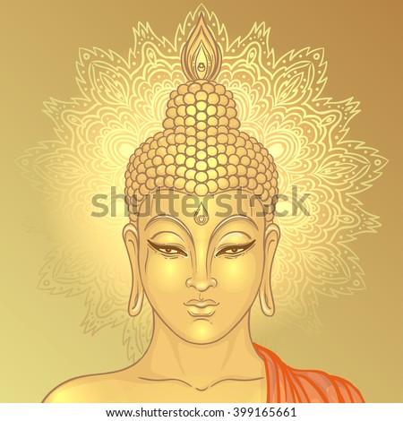 Sitting Buddha over ornate mandala round pattern. Vector illustration. Vintage decorative composition. Indian, Buddhism, Spiritual motifs. Tattoo, yoga, spirituality.  - stock vector