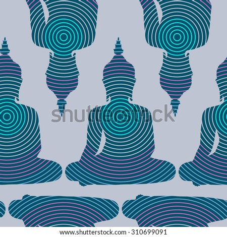 Sitting Buddha silhouette with circles. Vector seamless pattern - stock vector