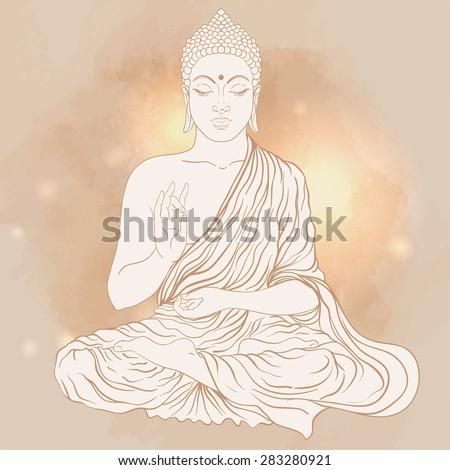 Sitting Buddha. Vector illustration.  - stock vector