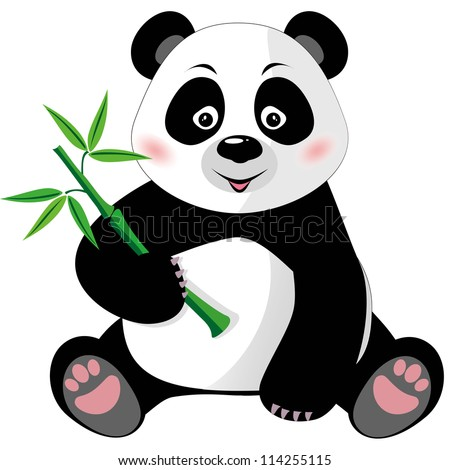Sitting cute little panda with bamboo isolated on white background, vector illustration - stock vector
