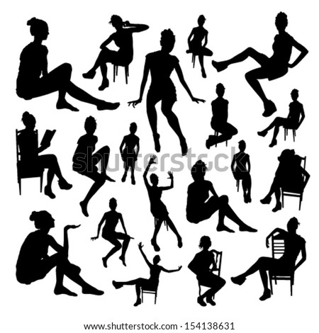 Sitting girls set - stock vector