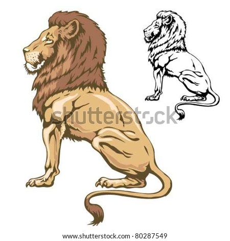 Lion sitting profile - photo#44