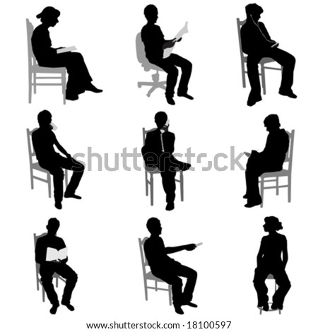 sitting people - stock vector