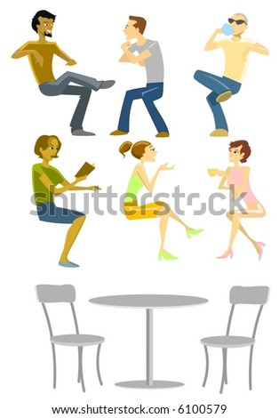 Sitting People Collection-vector - stock vector
