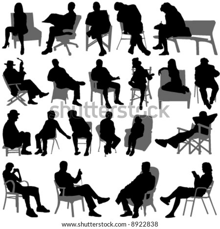 sitting people vector - stock vector
