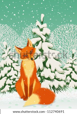 Sitting red fox in the winter forest - stock vector