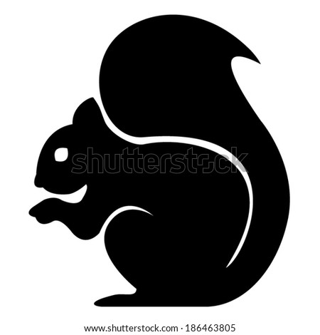 sitting squirrel black and white - stock vector