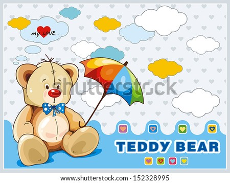 Sitting Teddy Bear toy with blue bow isolated over white background. Clipart vector illustration - stock vector