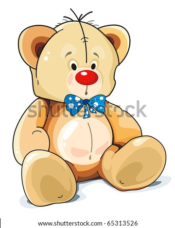 Sitting Teddy Bear toy with blue bow isolated over white background. Clipart vector illustration. - stock vector