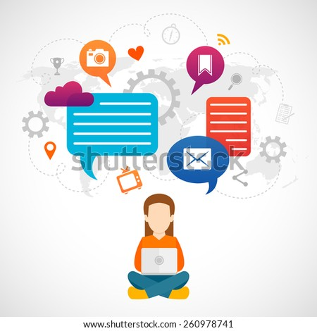 Sitting woman working on computer with communication icons world map on background vector illustration - stock vector
