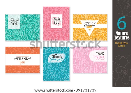 Six abstract natural textures thank you cards set with text design, pattern backgrounds perfect for any ocasion wedding, professional, birthday, aniversary, dinner party, baby shower,  - stock vector