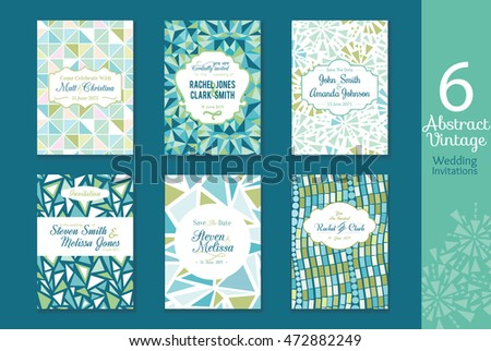 Six Abstract Vintage Wedding Invitations, Save the date cards set with bride and groom names, text, repeat pattern backgrounds perfect for any event.