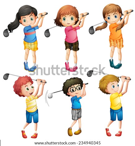 Six adorable kids playing golf on a white background  - stock vector