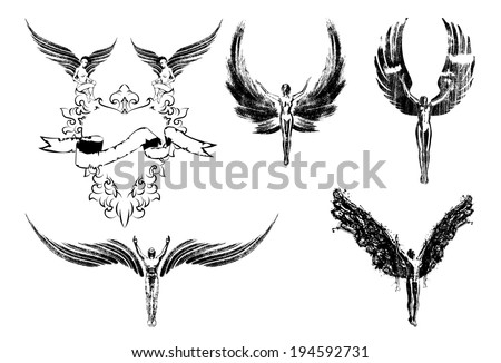 Six angels religion people symbol sign flying - stock vector
