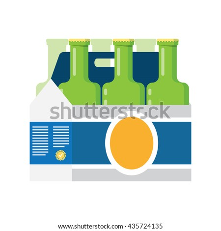six bottles in a cardboard box with a handle - stock vector