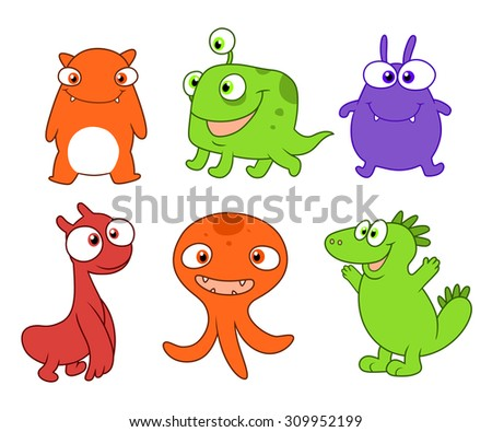 Six cartoon cute and silly monsters.  Set three.