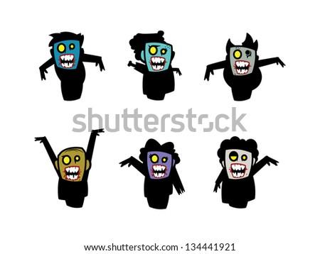 Six Cartoon Full Body Zombies. Ready for BRAINS! - stock vector