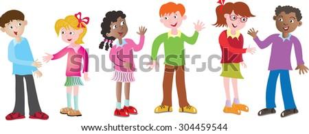 Six cartoon multicultural children greeting each stock vector hd six cartoon multicultural children greeting each other m4hsunfo